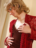 Elegant sissy in a dress and stockings seduces a funky guy into gay bonking