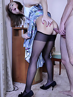 Hot sissy hikes up his pleated skirt encouraging a guy in his dirty desires