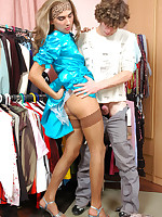 Doll-faced sissy in a blue satin dress trying the horniest anal positions