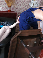 Nasty sissy guy in white nylons seducing hung worker into wild anal frenzy
