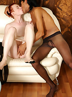 Sex-crazy guys in soft silky pantyhose going for breathtaking ass-fucking