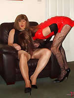 Kirsty watches two of her slutty tranny friends fuck and suck