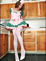 Darling Delia in short sissy donut girl dress, lace panties and thigh highs