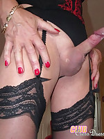 Sexy crossdressing sluts rubbing cocks and getting very horny.
