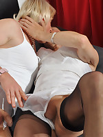 Crossdressing sluts take each others dresses off and start sucking some hard cock.