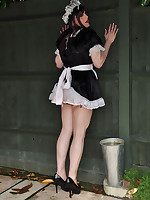This horny TGirl tart is dressed as a saucy maid and she is ready to serve.