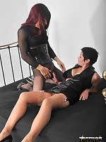 Zoe gets her big Tgirl cock sucked by a slutty brunette