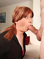 Lucimay is on her knees like the slut she is and she is sucking on a cock.
