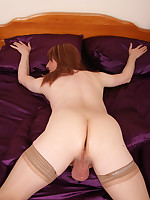 Horny TGirl Lucimay pulls off her panties then gets on her knees and puts her ass in the air.